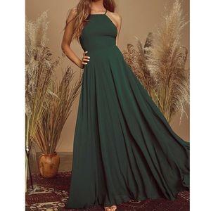 Lulus Mythical Kind of Love Maxi Dress Dark Green
